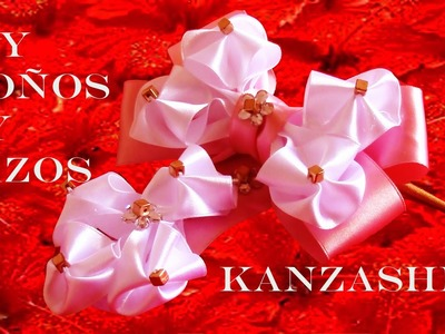 DIY Lazos y moños  Kanzashi en cintas -  bows and flowers in satin ribbons Kanzashi