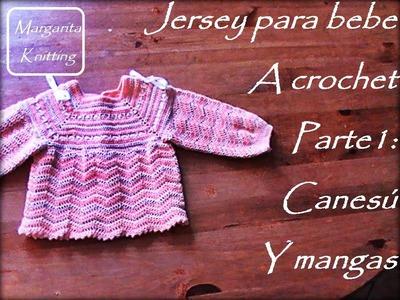 Jersey de bebe a crochet, parte 1: canesú y mangas (diestros)