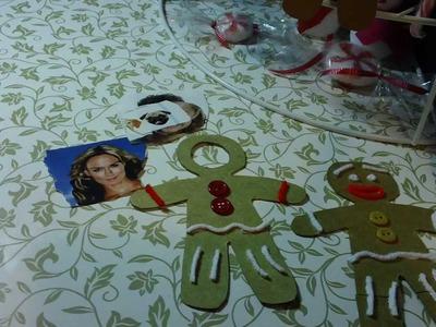 """Adornos(PORTARETRATO) de navidad RECICLADO""""muyeco de gengibre"""""""