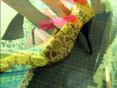 DIY, customizar zapatos con encaje y purpurina