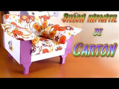 Manualidades DIY: sillon en miniatura para niños hecho de carton, muebles de carton