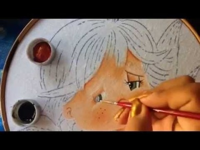 Pintura en tela niño elote # 1 con cony
