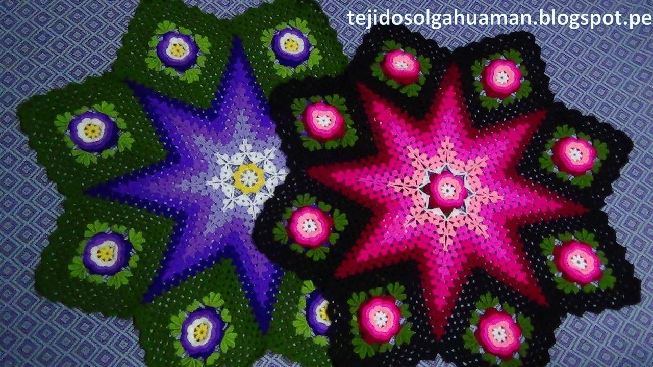 Tapete o Carpeta tejido a crochet paso a paso video 3