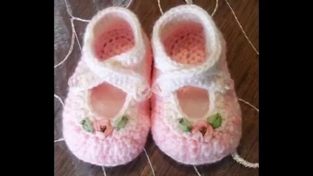Zapatitos bebe niños tejdos a crochet diseños
