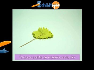 Clavel amarillo con papel crepe. Manualidades infantiles, manualidades con papel