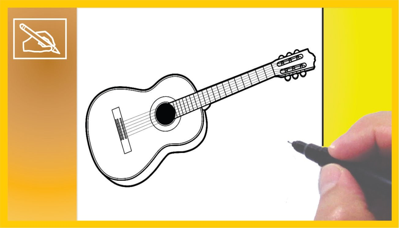 Cómo Dibujar Una Guitarra Acústica - How To Draw a Guitar