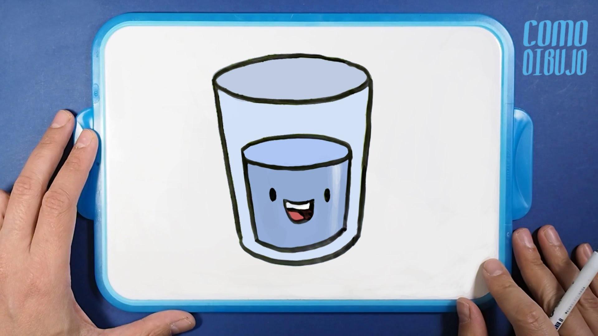 Cómo Dibujo un Vaso de Agua paso a paso | How to Draw a Cup of Water | Dibujar Kawaii es Fácil