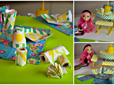 Como Hacer platos desechables para munecas -  Manualidades para muñecas - Ever After High -