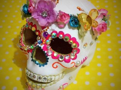 DIY  decora esqueleto cerámica Corona Flores decorates ceramic skeleton Dia de Muertos