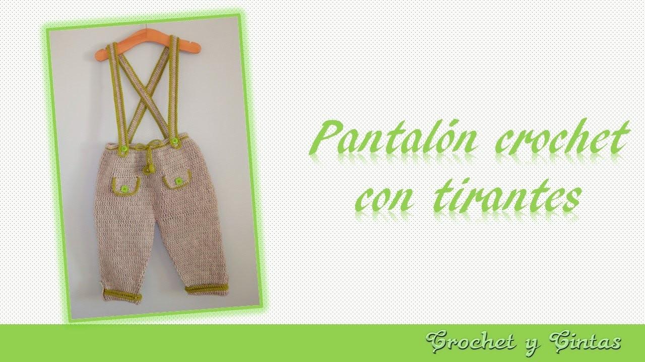 Pantalón con tirantes para niños tejido a crochet (ganchillo) - Parte 3