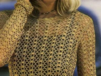 Suéter Dorado Calado a Crochet