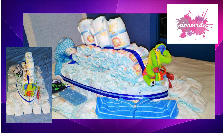 DIY. Como hacer un barco con pañales. Idea regalo para bebé. How to make a boat with diapers.