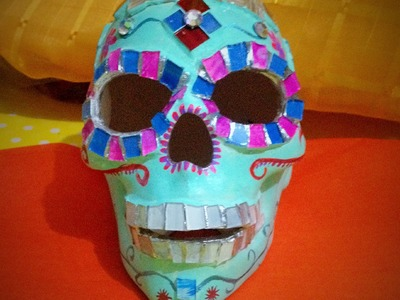DIY decora esqueleto con vitromosaico, dia de muertos halloween