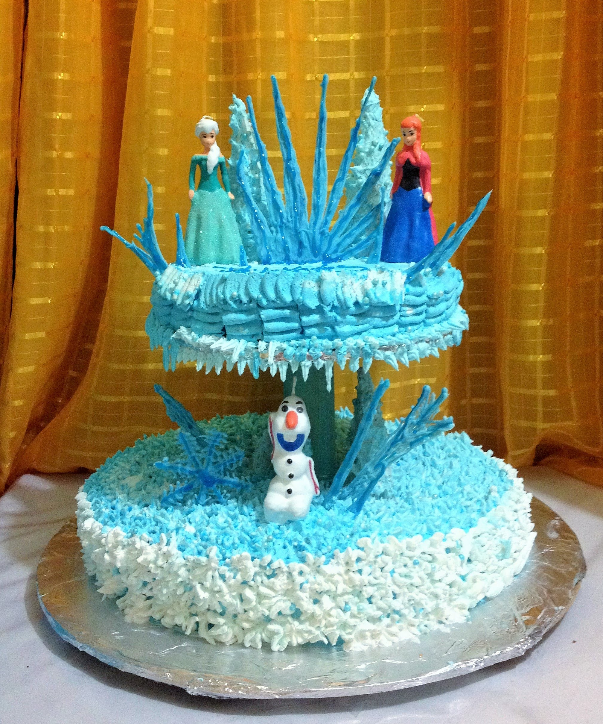 DIY Decora pastel de FROZEN,DECORATE CAKE FROZEN  , TORTA chantilly facil