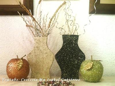 JARRÓN DE CARTÓN Y PAPEL 2. DIY. Made of cardboard vase