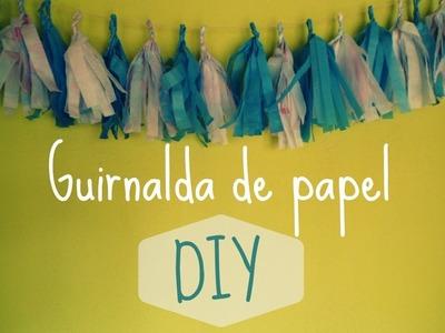Manualidades: Guirnalda DIY de papel teñido