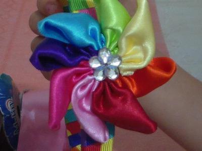 DIY Flor de listón tipo rehilete