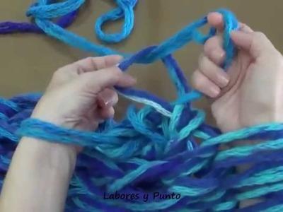 Aprende a tejer un cuello infinito o redondo, tejido con los brazos
