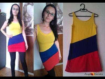 Como hacer un vestido tricolor - Selección Colombia
