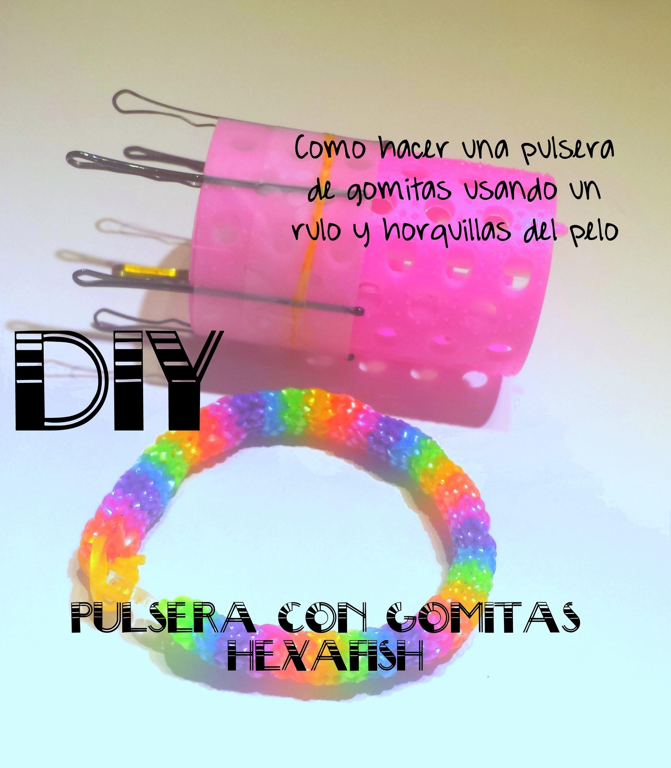 DIY Pulsera de gomitas Hexafish con rulo y horquillas del pelo