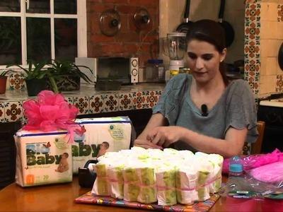 Pastel de pañales para baby shower