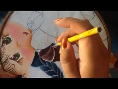Pintura en tela niña pera # 3 con cony