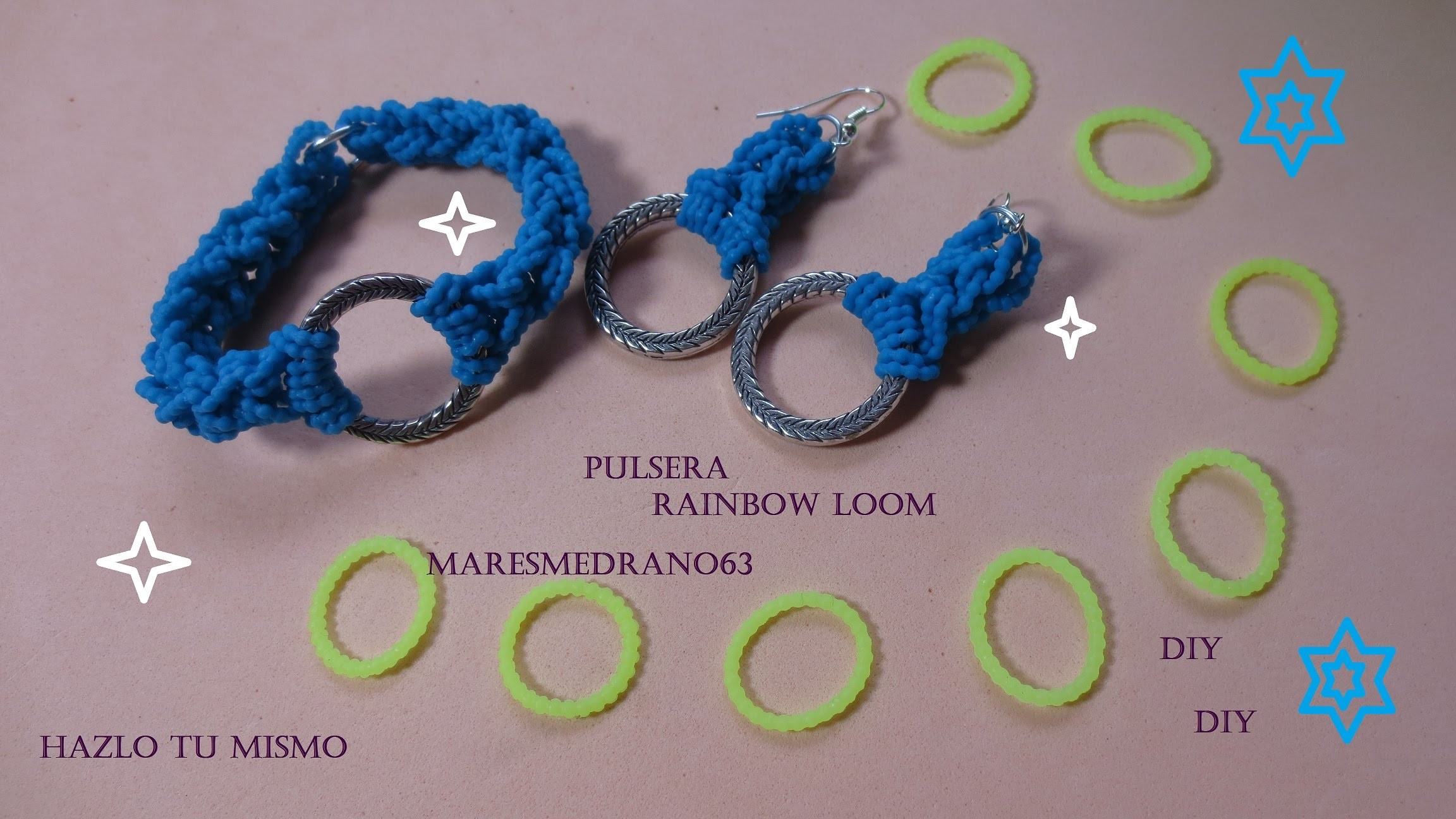 Pulsera de color turquesa Rainbow loom