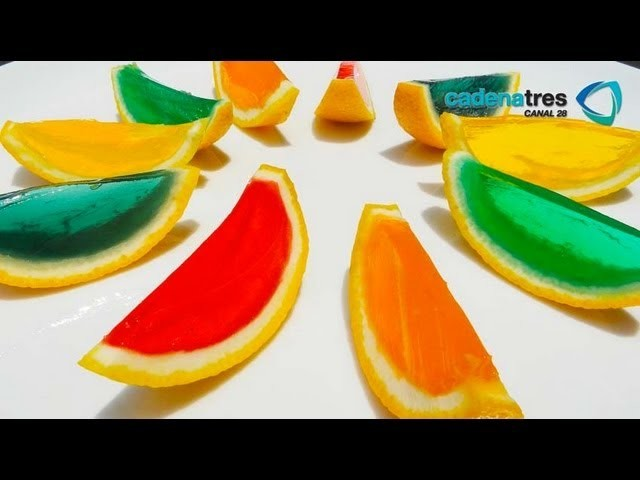 Receta de gelatinas en la cascara de la fruta. Receta de gelatinas artísticas y decoradas