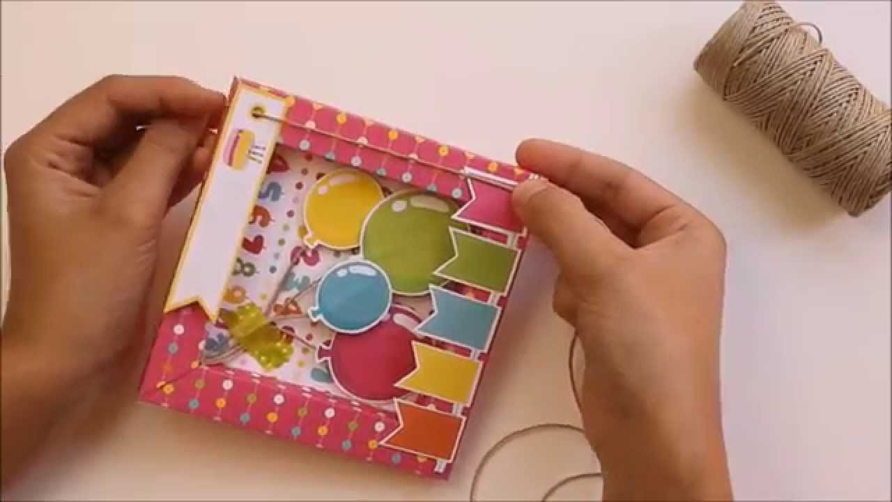 Tarjeta cumpleaños. Tutorial para hacerla paso a paso marco con papel de scrapbooking