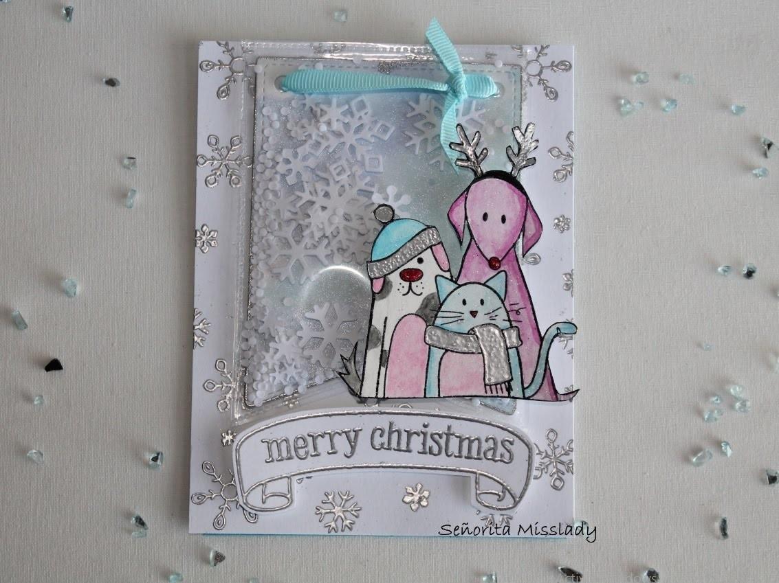 "#8. Scrap & Manualidades. ""Merry christmas"" shaker card."