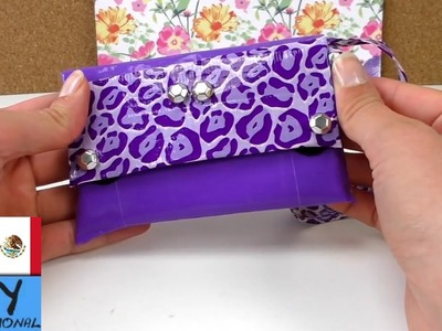 Bolsito de mano hecho con cinta adhesiva - Manualidades faciles para hacer en casa