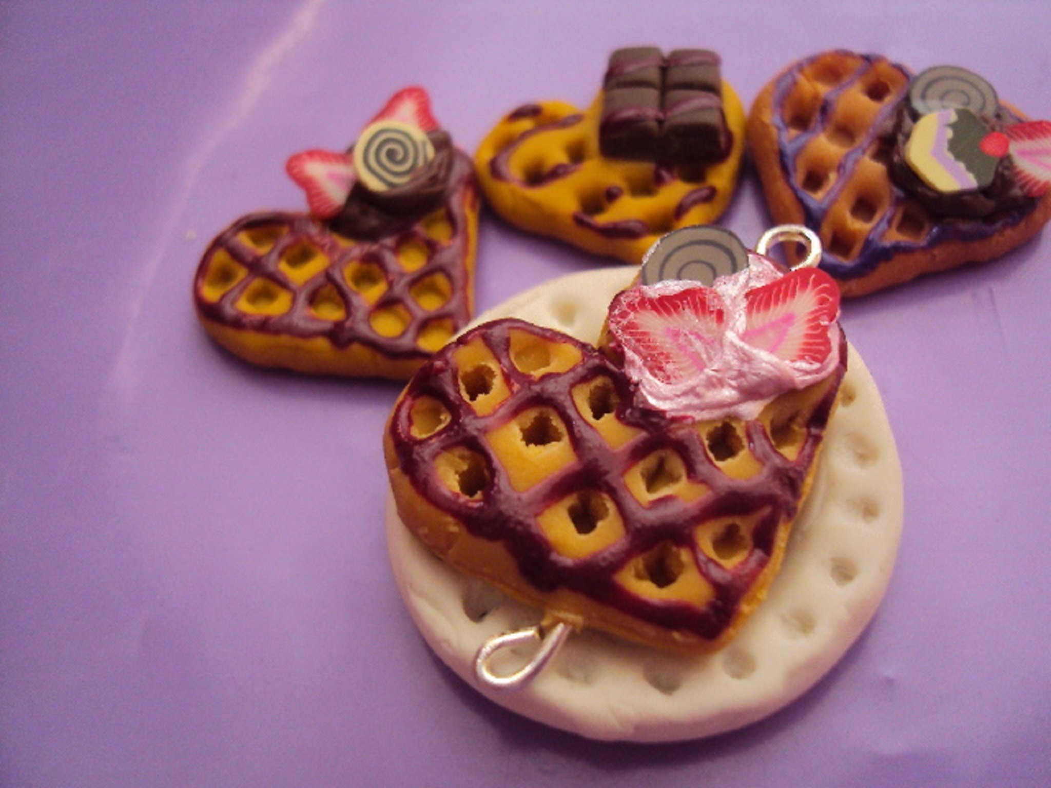 Tutorial: Waffle de Corazón en Porcelana Fría. Cold Porcelain Heart Waffle. Polymer Clay