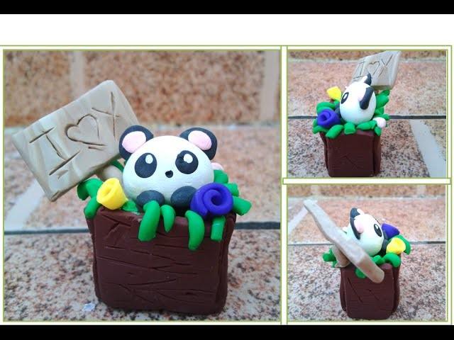 Arcilla polimerica.Oso  Panda. Polymer Clay. Panda Bear