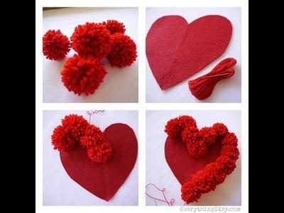 Como hacer pompones, manualidades y decoración para corazón
