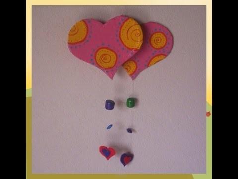 Móvil de corazón de día San Valentín 3 d, manualidades de corazón
