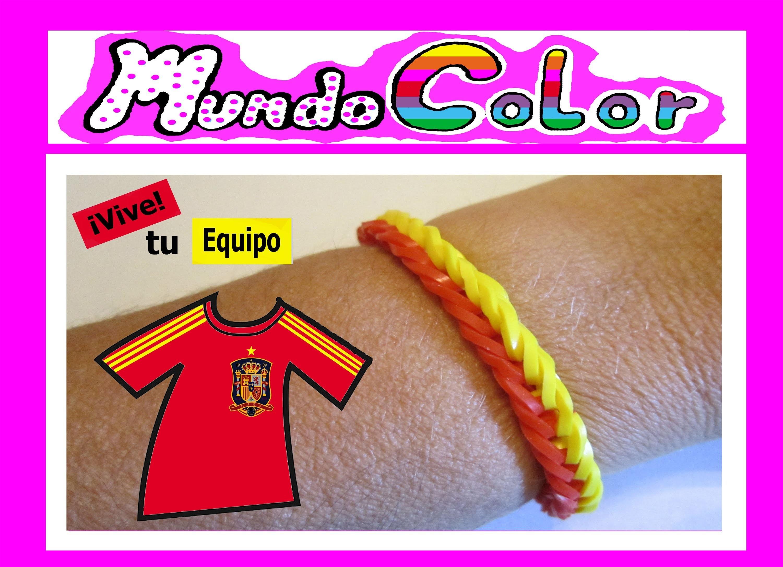 Como Hacer Pulsera Elastica Sencilla del España. Rainbow Loom