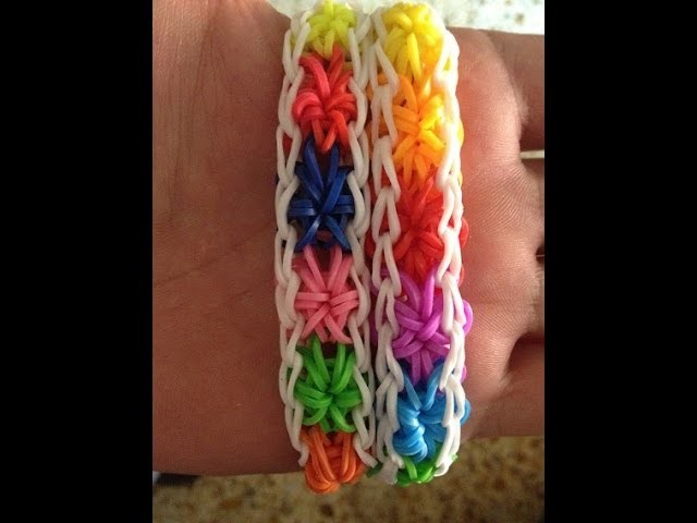 Como hacer pulsera Falsa Starburst con el telar Rainbow Loom