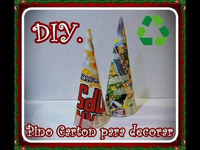 Diy. Como hacer un pino de carton para decorar. Diy. How to make a cardboard pine tree to decorate.