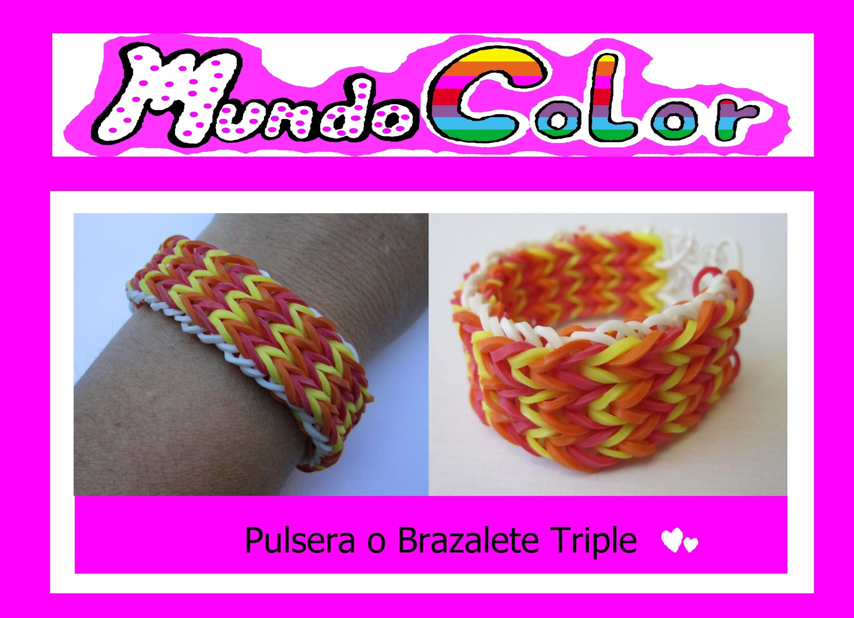 Elastic Bracelet triple. Rainbow Loom. Pulsera Elástica Triple.Gomas Loom (Tutorial en Español)