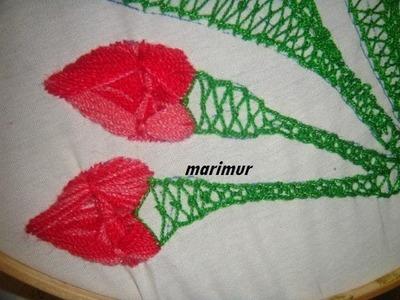 Bordado fantasia boton de  flor clavel, rosa, con marimur 326