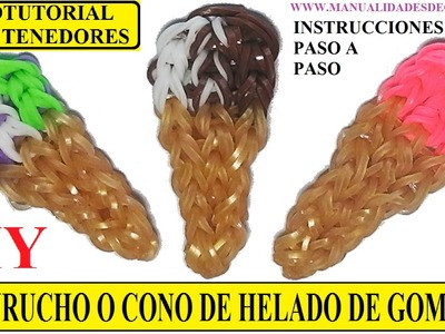 COMO HACER UN CUCURUCHO O CONO DE HELADO DE GOMITAS (LIGAS) CHARMS CON DOS TENEDORES. VIDEOTUTORIAL