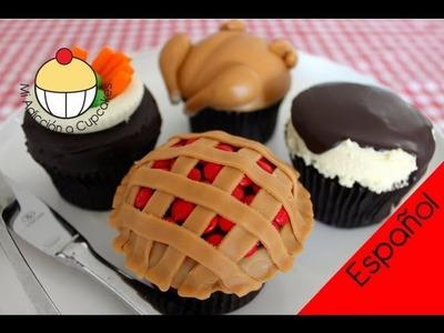 Cupcakes para un Festín de Pavo (Parte 2) Cena de Acción de Gracias con Pollo - MiAdiccionaCupcakes