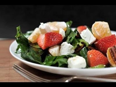 Ensalada de espinacas con fresa, mandarina y queso de cabra