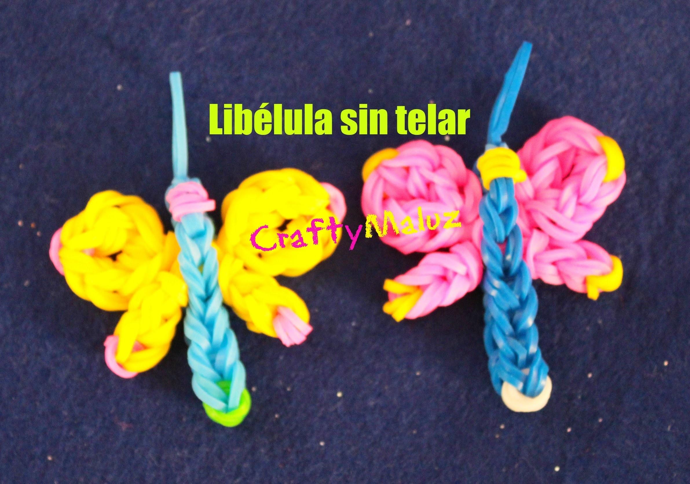 Libélula de Gomitas sin Telar Rainbow Loom. Dragonfly Charm