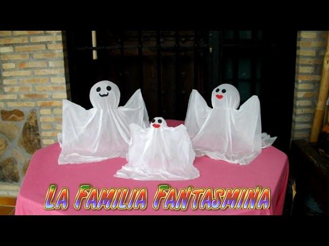Manualidades para Halloween facil, fantasmas tranparentes DIY, la familia fantasmina