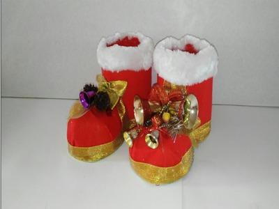 Como hacer botas de navidad con botellas de plastico tutorial manualidades adornos navideños DIY