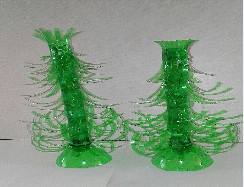Como hacer arbol  de navidad con botellas de plastico tutorial manualidades DIY
