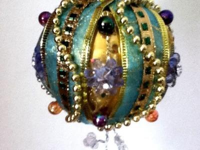 DIY Decora una esfera listón perlas árbol de Navidad Ornament ball christmas Tree