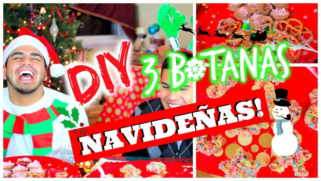 DIY: 3 SNACKS PARA ESTA NAVIDAD SUPER FACILES Y RAPIDAS DE HACER!! | CHRISTMAS SNACKS!