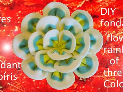 DIY flores de fondant arcoiris de tres colores-  fondant flowers rainbow of three colors